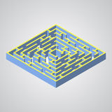 Vektorillustration av labyrint Isometrisk labyrint stock illustrationer