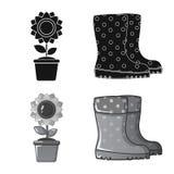 Vektorillustration av lantgård- och jordbruktecknet Samling av illustrationen för lantgård- och växtmaterielvektor stock illustrationer