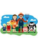 Vektorillustration av lantgårdfamiljen Arkivfoton