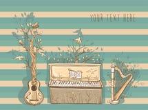 Vektorillustration av levande musik med gitarren, piano, harpa Arkivbild