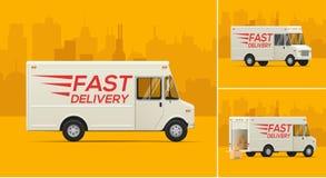 Vektorillustration av leveranslastbilen stock illustrationer