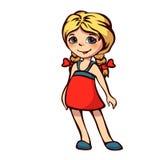 Vektorillustration av lilla flickan i röd klänning Royaltyfri Bild