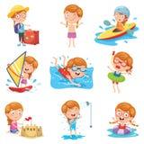Vektorillustration av lilla flickan på sommarferie royaltyfri illustrationer