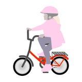 Vektorillustration av lite flickan på en liten cykelhjälm Fotografering för Bildbyråer