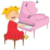 Vektorillustration av lite flickan som spelar pianot Arkivbild