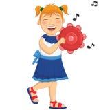Vektorillustration av lite flickan som spelar Tambo Fotografering för Bildbyråer