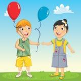Vektorillustration av lite ungen som ger ballongen Royaltyfri Fotografi