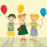 Vektorillustration av lite ungen som ger ballongen Arkivbild