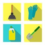 Vektorillustration av lokalvård- och servicesymbolet Samling av illustrationen för lokalvård- och hushållmaterielvektor vektor illustrationer