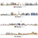 Vektorillustration av London, Paris, Berlin och Rome stadshorisonter som isoleras på vit bakgrund Flaggor och översikter av Fören