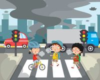 Vektorillustration av luftförorening vektor illustrationer