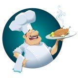 Vektorillustration av lycklig cheaf med stekt kyckling EPS10 Royaltyfria Bilder