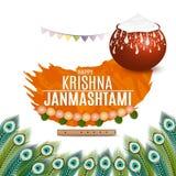 Vektorillustration av lycklig Krishna Janmashtami bakgrund med krukan av kräm Dahi Handi arkivfoton