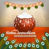 Vektorillustration av lycklig Krishna Janmashtami bakgrund med krukan av kräm Dahi Handi royaltyfri foto