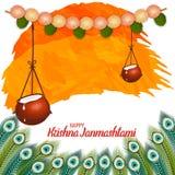 Vektorillustration av lycklig Krishna Janmashtami bakgrund med krukan av kräm Dahi Handi royaltyfri fotografi