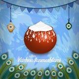 Vektorillustration av lycklig Krishna Janmashtami bakgrund med krukan av kräm Dahi Handi fotografering för bildbyråer