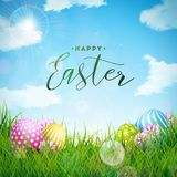 Vektorillustration av lycklig påskferie med det målade ägget och blomman på grön naturbakgrund internationellt
