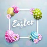 Vektorillustration av lycklig påskferie med det målade ägget och blomman på ren bakgrund Internationell beröm