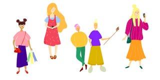 Vektorillustration av lyckliga män och kvinnor i den plana stilen stock illustrationer