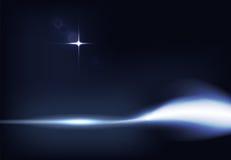 Vektorillustration av mörker - det blåa banret med glödande ljus effekt med strålar och linsen blossar Royaltyfri Foto