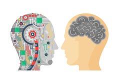 Vektorillustration av maskinerihuvudet av cyborgen och den mänskliga med hjärnan vektor illustrationer