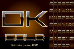 Vektorillustration av mest djärv guld- bokstäver Fotografering för Bildbyråer