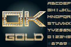 Vektorillustration av mest djärv guld- bokstäver Arkivfoton