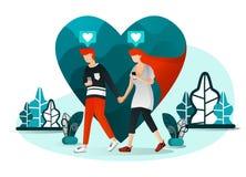 Vektorillustration av millennial par, närvarande förälskelse, teknologi, socialt liv 4 0 par som pratar på datum Man som går med  royaltyfri illustrationer