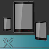 Vektorillustration av mobiltelefonen med skiftnyckeln och skruvmejseln för text vektor illustrationer