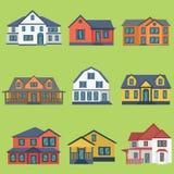 Vektorillustration av moderna byggnader för detaljerad färgrik plan stil Royaltyfri Foto