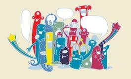 Vektorillustration av monster och den gulliga främmande vänskapsmatchen Arkivbild