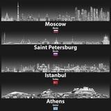 Vektorillustration av Moskva-, St Petersburg, Istanbul och Atenhorisonter på natten i färgpalett för grå våg med ljus li royaltyfri illustrationer
