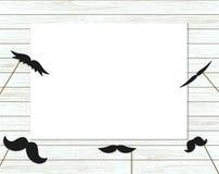 Vektorillustration av mustaschen på pinnen på sjaskig träbakgrund vektor illustrationer