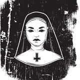 Vektorillustration av nunnan med korset Royaltyfria Bilder