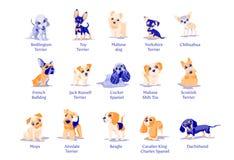 Vektorillustration av olika avel för hundkapplöpningvalpar vektor illustrationer