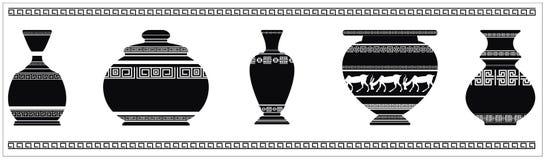 Vektorillustration av olika forntida vaser Arkivbilder