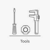 Vektorillustration av olika hjälpmedel Vektor Illustrationer