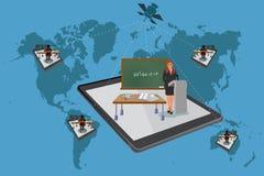 Vektorillustration av online-konferensen, presentation som är webinar, utbildning Arkivbild