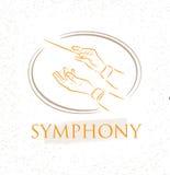 Vektorillustration av orkesterhänder för plan ledare Färgrikt körledarebegrepp för din design royaltyfri illustrationer