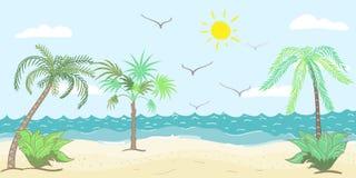 Vektorillustration av palmträd på stranden Royaltyfri Fotografi