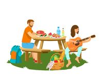 Vektorillustration av par som har picknicken att isoleras royaltyfri illustrationer