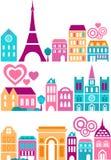 Vektorillustration av Paris landmarks royaltyfri illustrationer