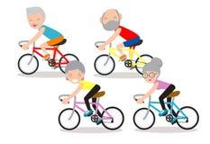 Vektorillustration av pensionärer som rider på cykeln, lyckligt pensionerat folk Sund livsstil royaltyfri illustrationer