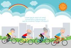 Vektorillustration av pensionärer som rider på cykeln, lyckligt pensionerat folk Sund livsstil stock illustrationer