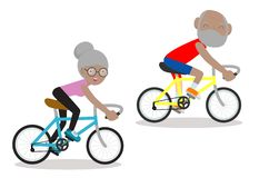 Vektorillustration av pensionärer som rider på cykeln, lyckligt pensionerat folk Sund livsstil vektor illustrationer