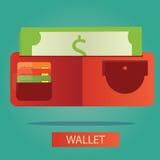 Vektorillustration av plånboken med kortet och kassa Vektor Illustrationer