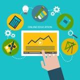 Vektorillustration av plana designsymboler för online-utbildning och att lära Royaltyfri Fotografi