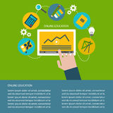 Vektorillustration av plana designsymboler för online-utbildning och att lära Royaltyfri Bild