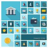 Vektorillustration av plana färgsymboler med lång skugga för finans och bankrörelsen royaltyfri illustrationer