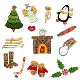 Vektorillustration av plana klotter Jul isolerade bilder royaltyfri illustrationer